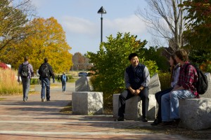 students sitting in MLK Plaza