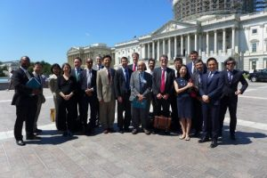 Members of Cohort III and Cohort IV of the U.S.-Japan Network for the Future gather with Advisory Committee members Ezra Vogel and Leonard Schoppa and representatives of the Japan Foundation Center for Global Partnership in Washington, June 2016 (photo credit: Mansfield Foundation)